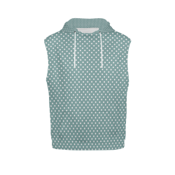 Silver blue polka dots All Over Print Sleeveless Hoodie for Women (Model H15)