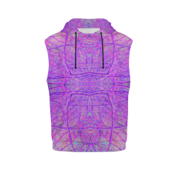 Hot Pink and Purple Abstract Branch Pattern All Over Print Sleeveless Hoodie for Men (Model H15)