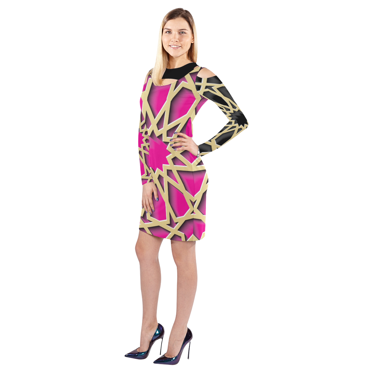 Gold Web  Cold Shoulder Dress {Pink/ Black Cold Shoulder Long Sleeve Dress (Model D37)