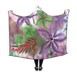 Flower Pattern - purple, violet, green, red Hooded Blanket 60''x50''