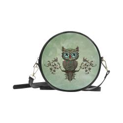 Wonderful owl, diamonds Round Sling Bag (Model 1647)