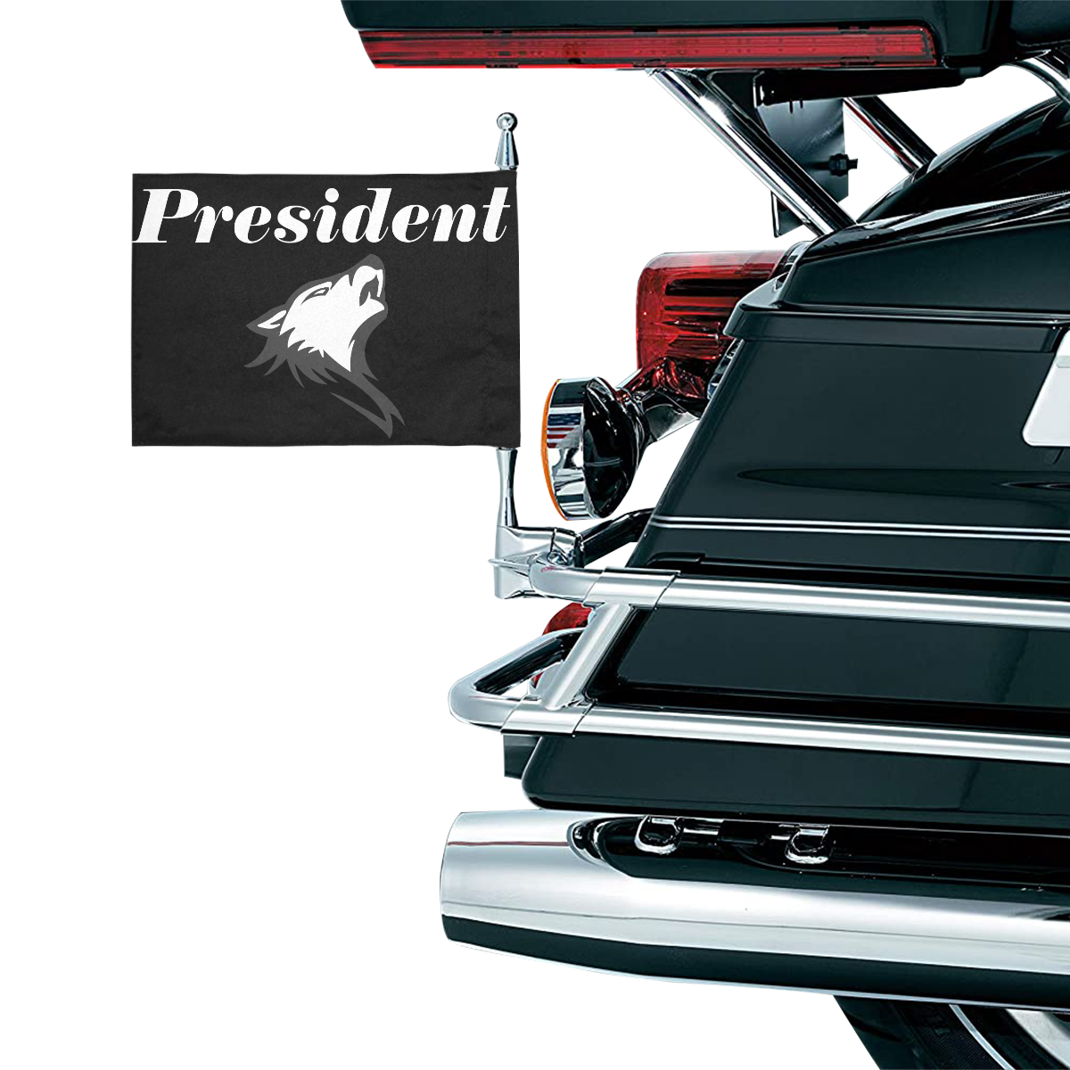 President - SILVER FOX Motorcycle Flag (Twin Sides)