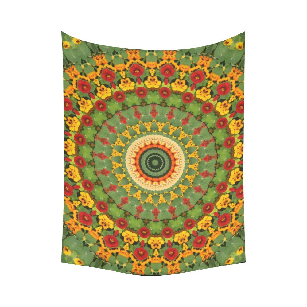 """Garden Mandala Cotton Linen Wall Tapestry 80""""x 60"""""""