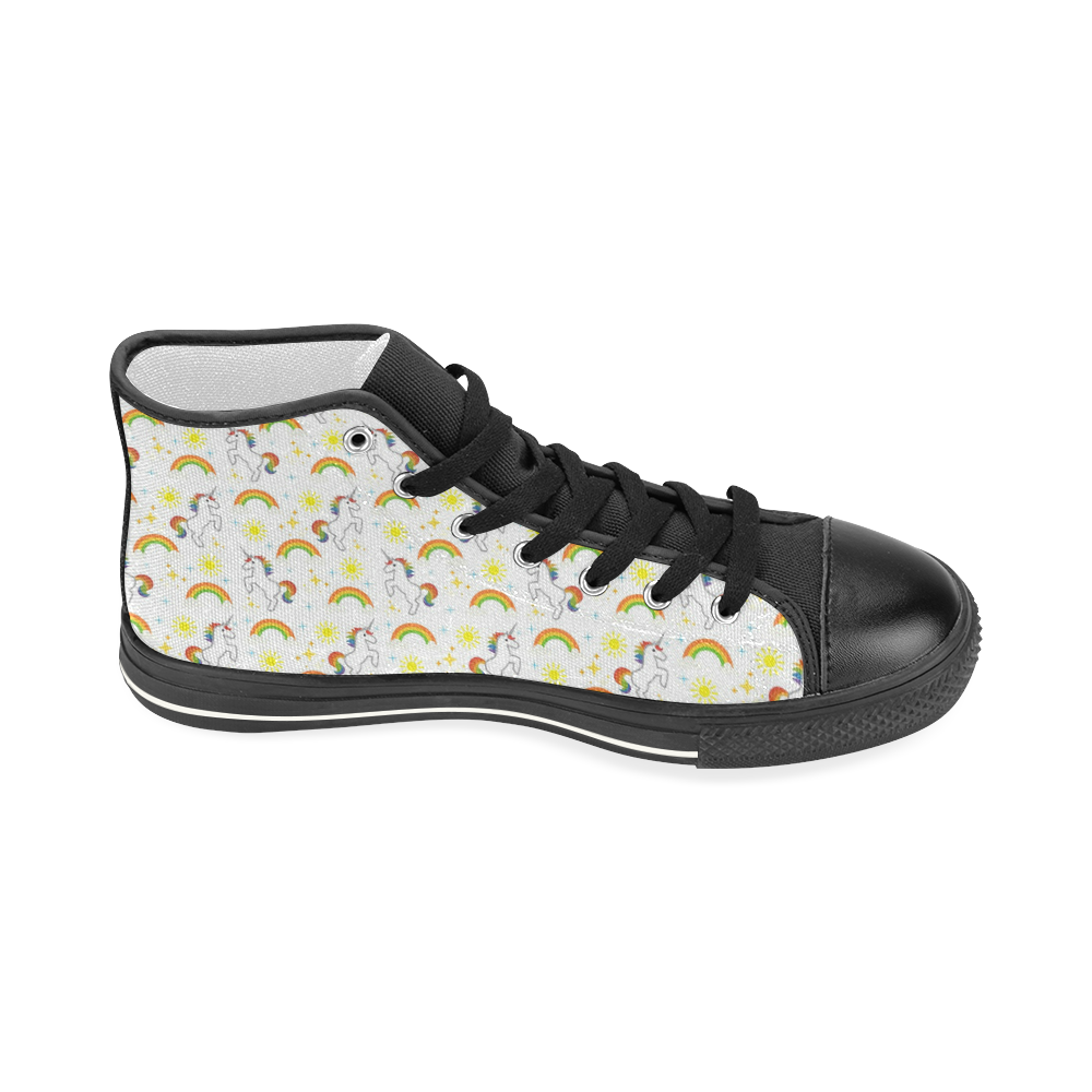 Rainbows and Unicorns Women's Classic High Top Canvas Shoes (Model 017)