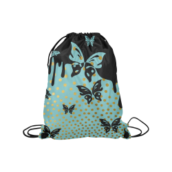 "Gold Elegance Polka Dots Shower Medium Drawstring Bag Model 1604 (Twin Sides) 13.8""(W) * 18.1""(H)"