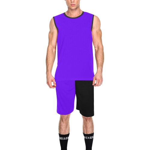 Purple and Black Number 13 Team Basketball Uniforms All Over Print Basketball Uniform