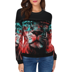 lion jbjart #lion Women's Fringe Detail Sweatshirt (Model H28)