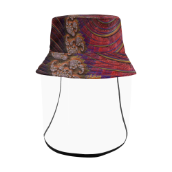 Diamond Coral Reef at Sunset Fractal Abstract Women's Bucket Hat (Detachable Face Shield)