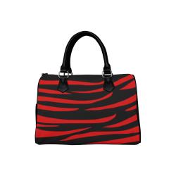 Tiger Stripes Black and Red Boston Handbag (Model 1621)