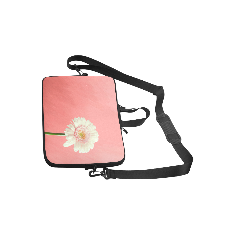"Gerbera Daisy - White Flower on Coral Pink Laptop Handbags 10"""