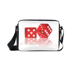 Las Vegas Craps Dice on White Classic Cross-body Nylon Bags (Model 1632)