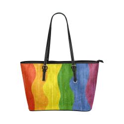 Gay Pride - Rainbow Flag Waves Stripes 3 Leather Tote Bag/Large (Model 1651)