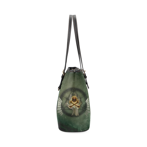 Skull in a hand Leather Tote Bag/Small (Model 1640)