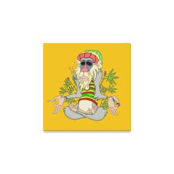 "Hippie Ganja Guru Yellow Canvas Print 8""x8"""