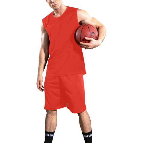 Pomegranate Solid All Over Print Basketball Uniform