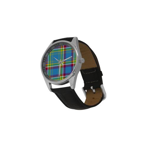 Yukon Tartan Men's Casual Leather Strap Watch(Model 211)