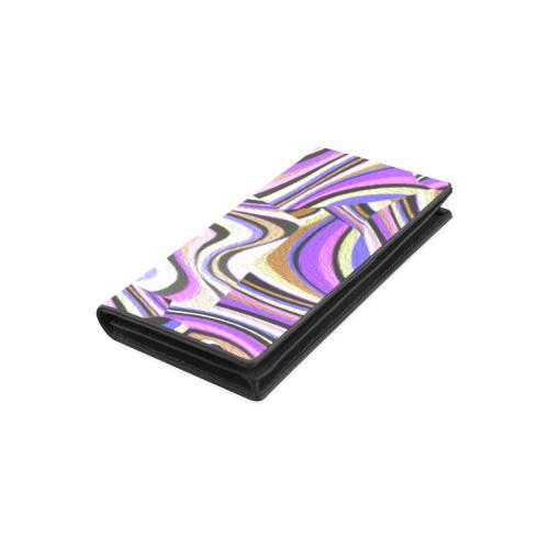 Groovy Retro Renewal - Purple Waves Women's Leather Wallet (Model 1611)