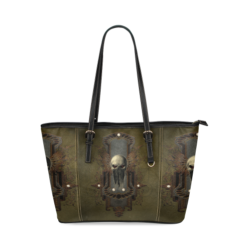 Awesome dark skull Leather Tote Bag/Small (Model 1640)