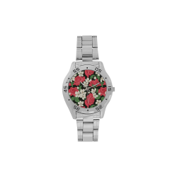 Pink, White and Black Floral Men's Stainless Steel Analog Watch(Model 108)