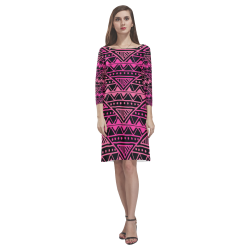 Black and Pink Tribal Pattern Rhea Loose Round Neck Dress(Model D22)