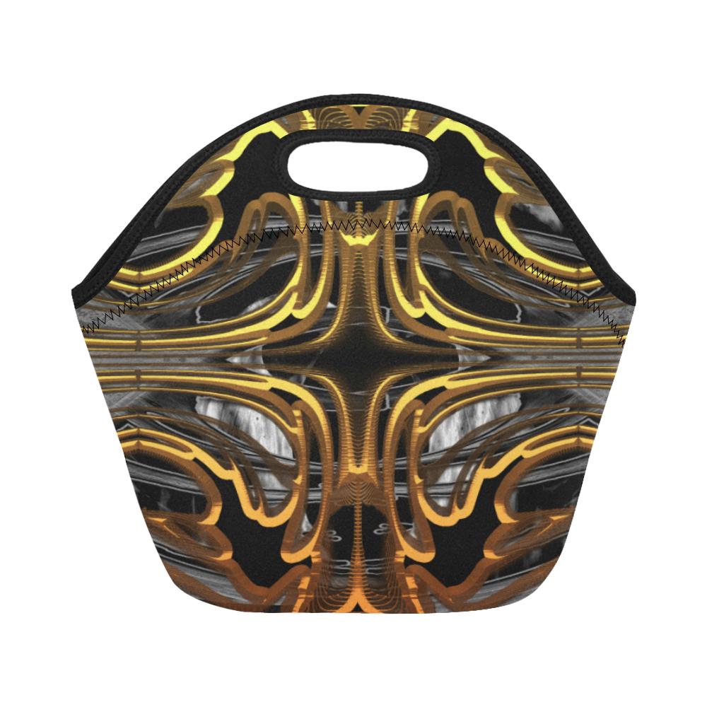 Golden Flower Crew Neoprene Lunch Bag/Small (Model 1669)
