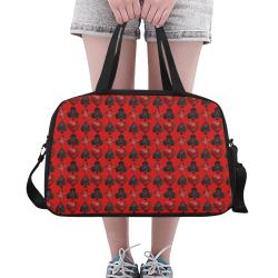 Las Vegas Black and Red Casino Poker Card Shapes on Red Fitness Handbag (Model 1671)