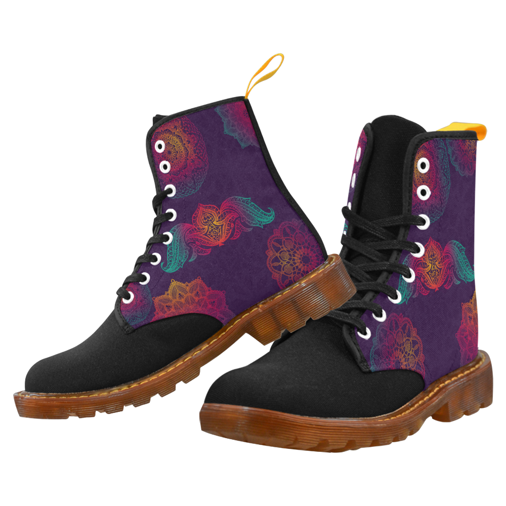 Colorful Mandala Martin Boots For Men Model 1203H