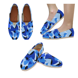 Camouflage Abstract Blue and Black Women's Classic Canvas Slip-On (Model 1206)