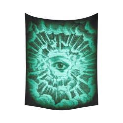 "Illuminati Third Eye Source Awakening Blacklight Magick Cotton Linen Wall Tapestry 60""x 80"""