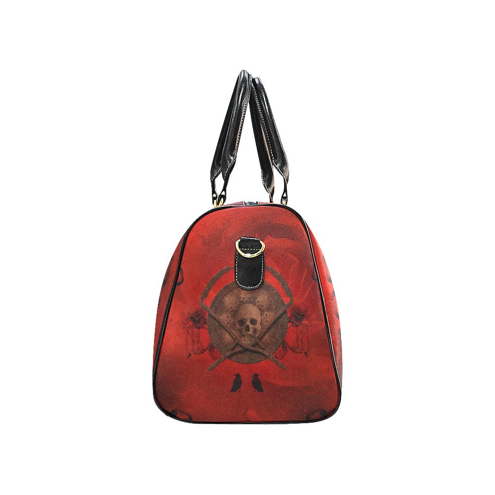 Skulls on red vintage background New Waterproof Travel Bag/Small (Model 1639)