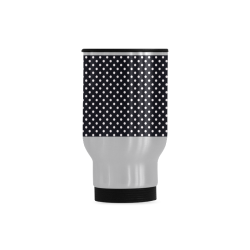 Black polka dots Travel Mug (Silver) (14 Oz)