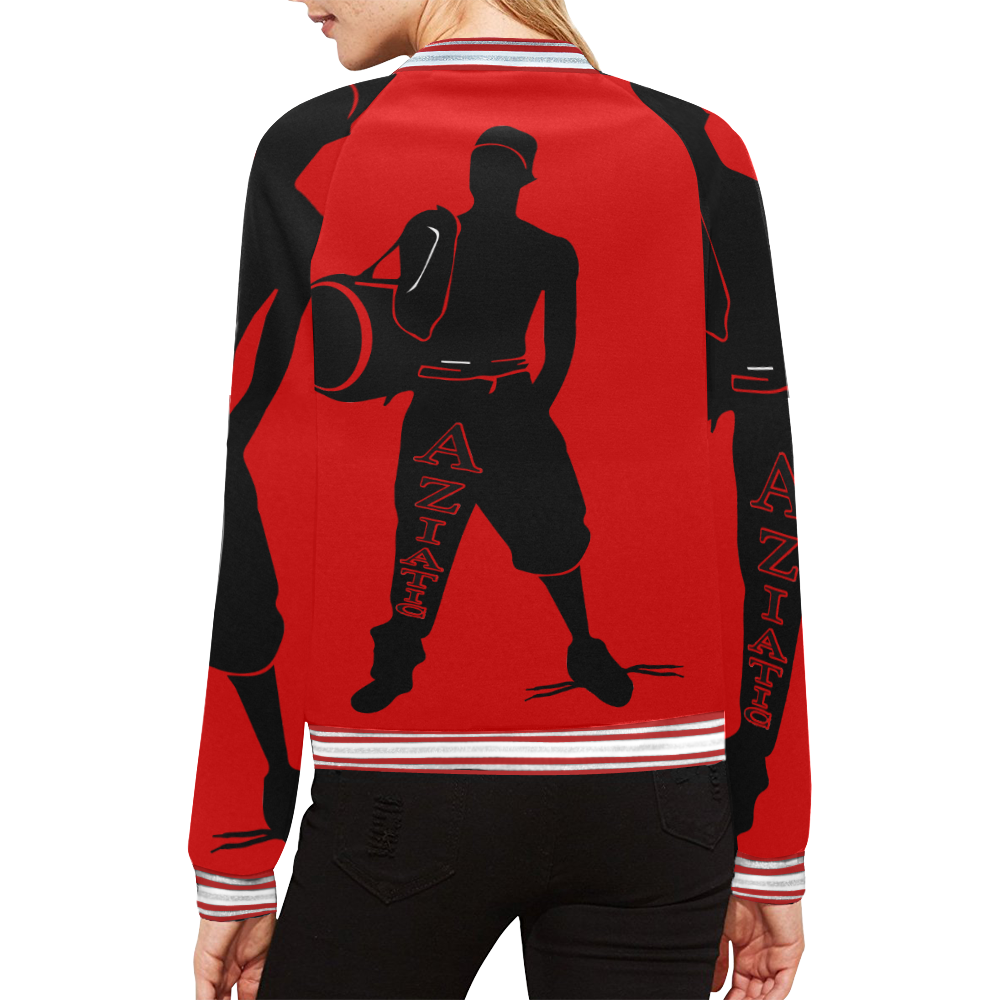 Aziatic Black & Red 21 All Over Print Bomber Jacket for Women (Model H21)