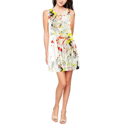 Black, Red, Yellow Paint Splatter Thea Sleeveless Skater Dress(Model D19)