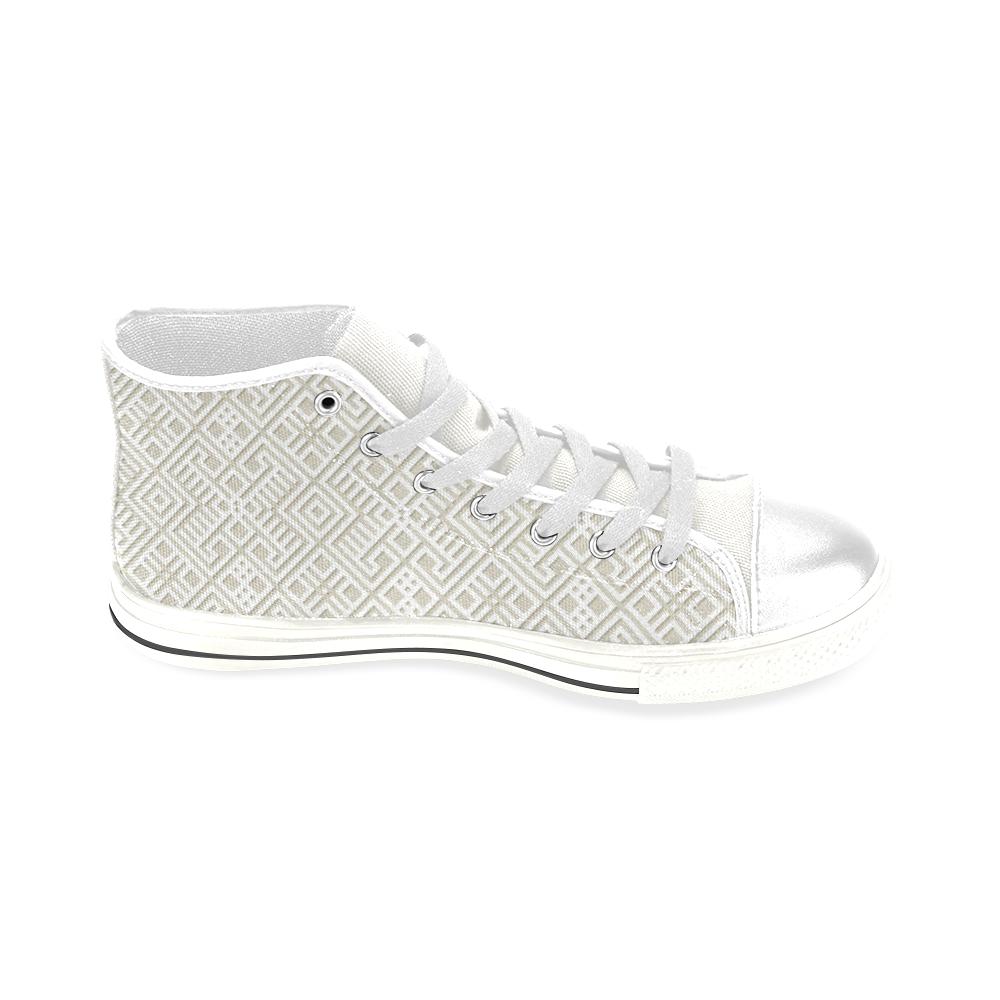 White 3D Geometric Pattern Men's Classic High Top Canvas Shoes (Model 017)