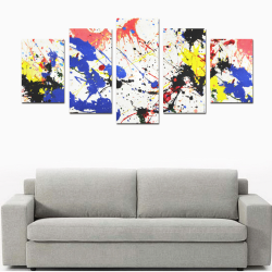 Blue and Red Paint Splatter Canvas Print Sets D (No Frame)