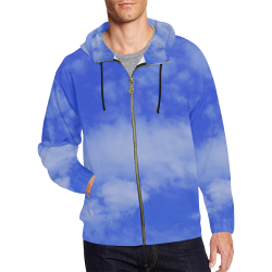 Blue Clouds All Over Print Full Zip Hoodie for Men (Model H14)