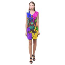 Awesome Baphomet Popart Phoebe Sleeveless V-Neck Dress (Model D09)
