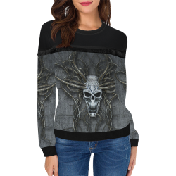 Skull Maniac Creepy Women's Fringe Detail Sweatshirt (Model H28)