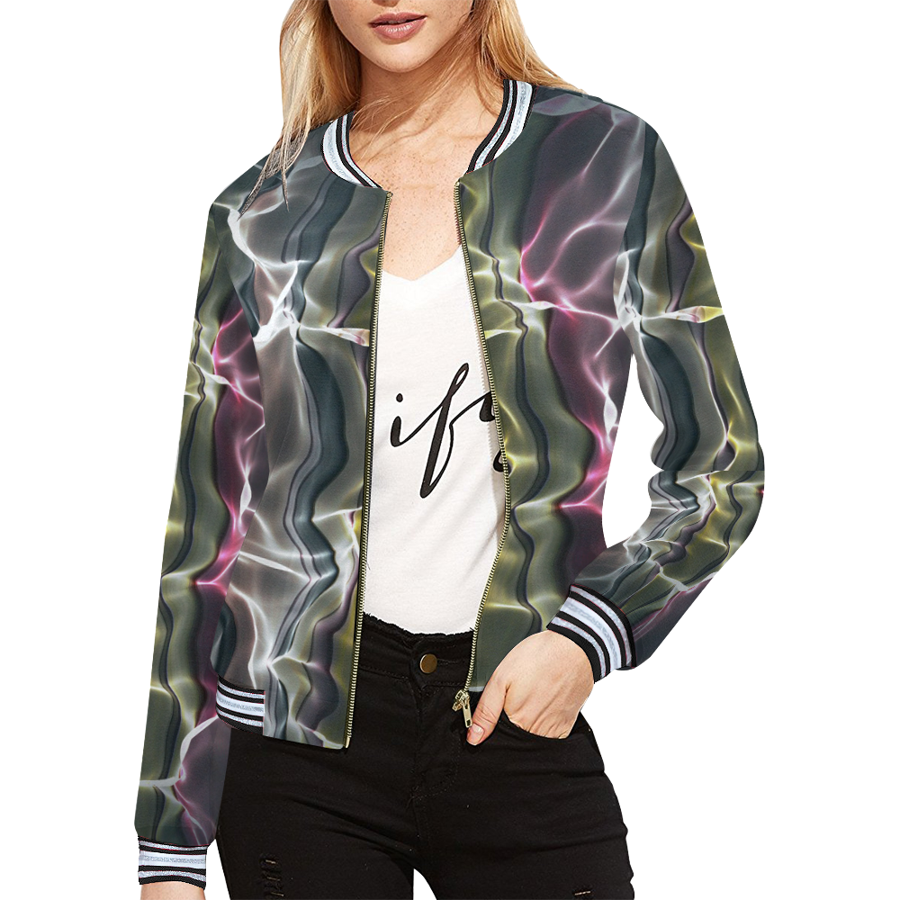 Abstract Wavy Mesh All Over Print Bomber Jacket for Women (Model H21)