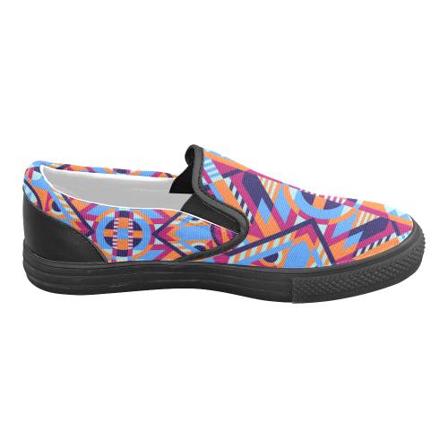 Modern Geometric Pattern Men's Slip-on Canvas Shoes (Model 019)