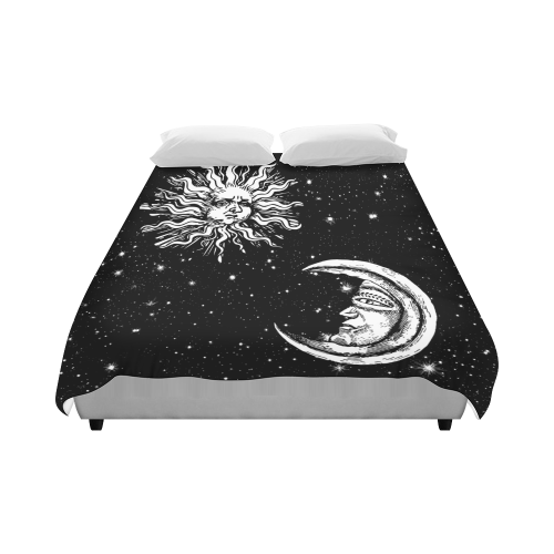 "Mystic Stars, Moon and Sun Duvet Cover 86""x70"" ( All-over-print)"
