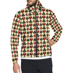 Las Vegas Black and Red Casino Poker Card Shapes on Yellow Unisex All Over Print Windbreaker (Model H23)