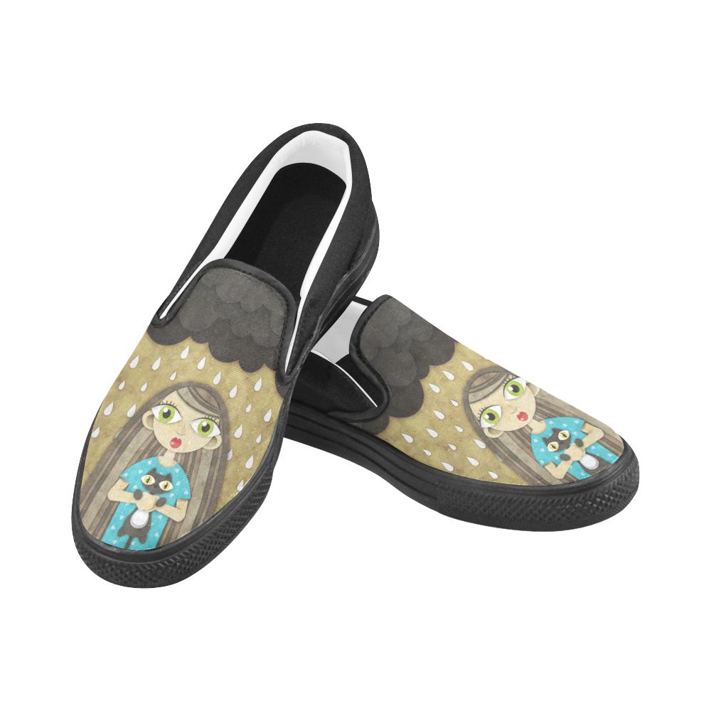 We Love Rain Women's Unusual Slip-on Canvas Shoes (Model 019)