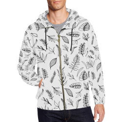 DANCING LEAVES All Over Print Full Zip Hoodie for Men (Model H14)