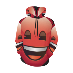 Red Smiley Face Emoji Rave All Over Print Hoodie for Men/Large Size (USA Size) (Model H13)