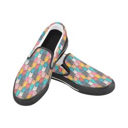 Cartoon Cat Pattern Men's Slip-on Canvas Shoes (Model 019)