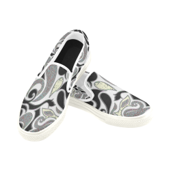 abstract swirl doodle in white trim Slip-on Canvas Shoes for Men/Large Size (Model 019)
