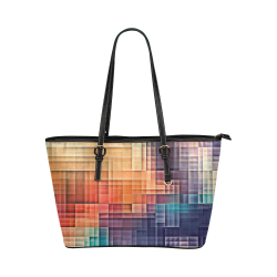 pixels #colors Leather Tote Bag/Large (Model 1651)