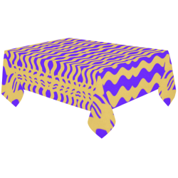 "Purple Yellow Modern  Waves Lines Cotton Linen Tablecloth 60""x120"""