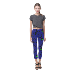 Alien Flying Saucers Stars Pattern on Blue Capri Legging (Model L02)